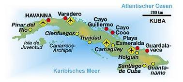 Kuba Karte Rundreise.Urlaubsreise Cuba 2009